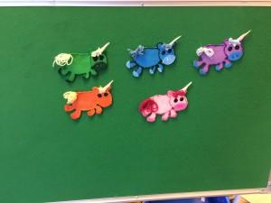 5 Felt Unicorns