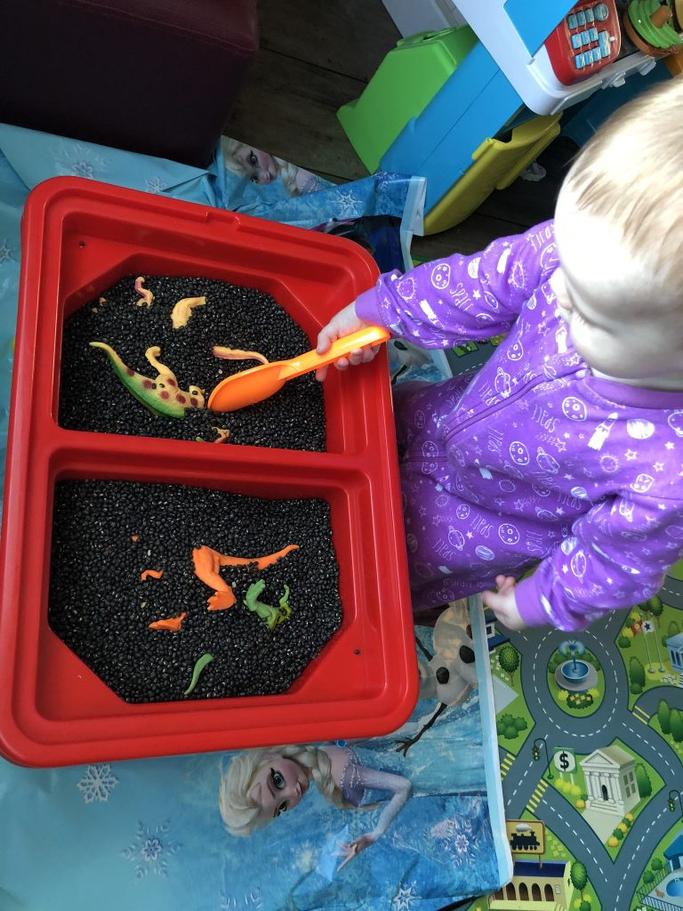 Toddler digging plastic dinosaurs out of black beans